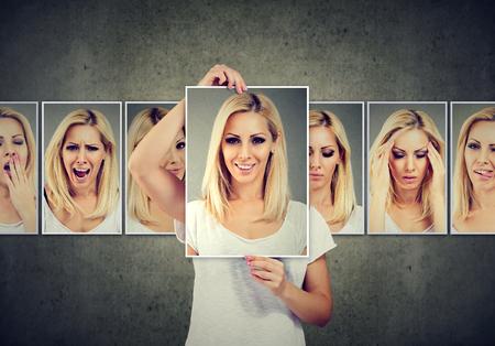 Masked blonde woman expressing different emotions Standard-Bild