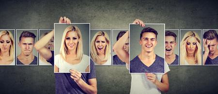 Concepto de relación equilibrada. Mujer enmascarada y hombre expresando diferentes emociones intercambiando caras