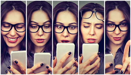 Woman expressing different emotions using smart phone