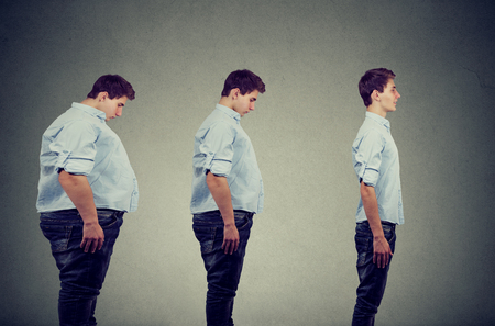 Side profile of a young chubby man transformation into a slim happy person  Stockfoto