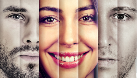 Collage of a happy beautiful woman in-between two serious men  Stockfoto
