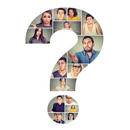 Collage in de vorm van een vraagteken met verbaasde en verwarde mannen en vrouwen die hun schouders ophalen. Stockfoto