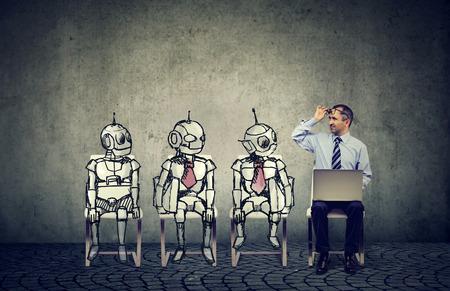 Human vs artificial intelligence concept. Reklamní fotografie