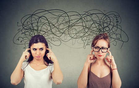 Two angry displeased with each other women ignoring not listening each other exchanging with many negative thoughts  Stock Photo