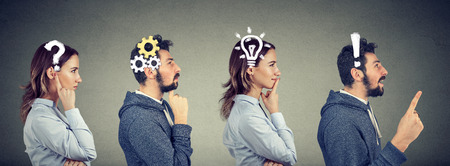 Emotional intelligence. Thoughtful man and woman thinking solving together a common problem. Human face expressions