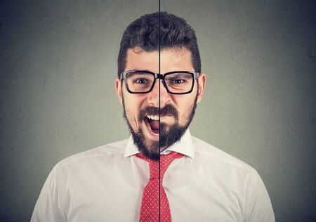 Split portrait of an frustrated and angry screaming business man