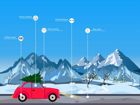 Winter driving tips concept. Vector of red retro car driving in snowy mountains on Christmas season  Stock Illustratie