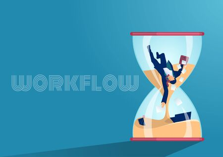 Vector of a busy businessman having long working hours  Stock Illustratie