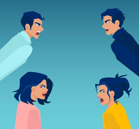Vector of angry and frustrated young men and women screaming at each other