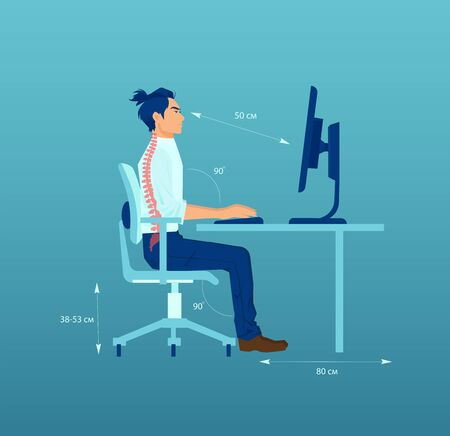 Vector of an young office worker with correct sitting posture ergonomics at desk while working on a computer Ilustración de vector
