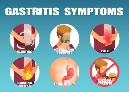 Vector infographic of a man with gastritis symptoms, vomiting, nausea abdominal pain, burning feeling and loss of appetite  Illustration