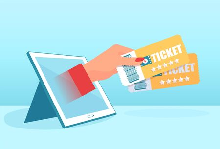 Online ticket order concept. Vector of a womans hand with tickets coming from a tablet computer
