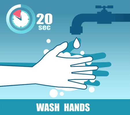 Vector of hands with soap under the faucet. Wash at least 20 seconds doctor recommendation Vector Illustratie