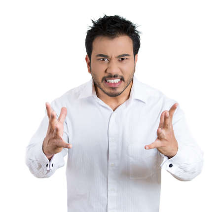 Portrait of an angry man with hands in air, wide open mouth yelling, isolated white background. Negative emotion, facial expression feelings.
