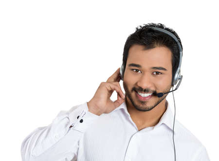 Closeup portrait of male customer service representative or call centre worker or operator or support staff speaking with head set, isolated on white background