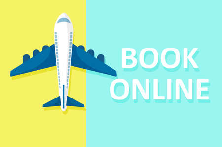 Book online banner concept. Vector top view of an airplane