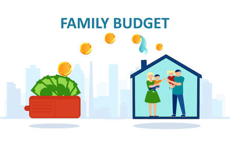 Family budget concept. Vector of a happy family inside a house and money being transferred from wallet