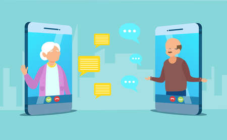 Vector of a senior couple man and woman communication using smart phone video call, chatting online Ilustracja
