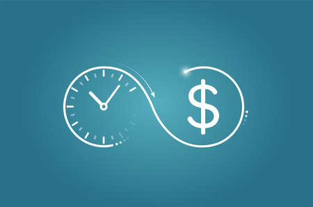 Time is money concept. Vector logo of a clock flowing into dollar symbol