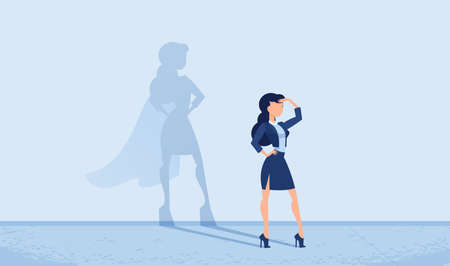 Vector of a young business woman imagining to be a super hero looking forward feeling confident