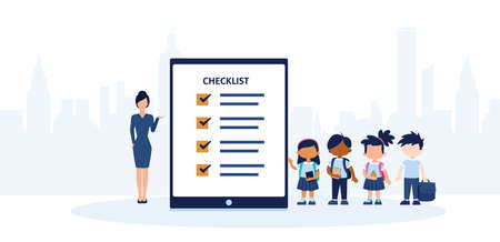Vector of a teacher and a group of students standing by a checklist or evaluation form Stock fotó - 155446453