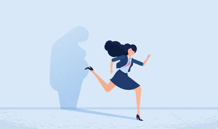 Vector of a woman running away from her sad gloomy fat shadow on the wall. Mental health and body weight control concept