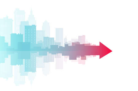 Vector banner of a cityscape merging into one red arrow