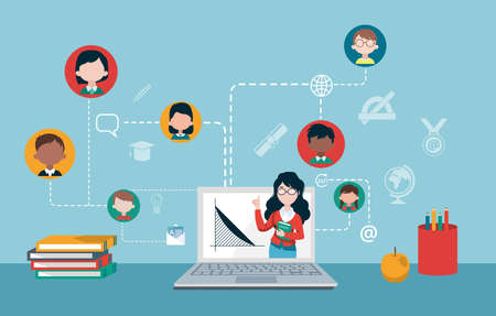 Distance education concept. Vector of a teacher and group of children studying online