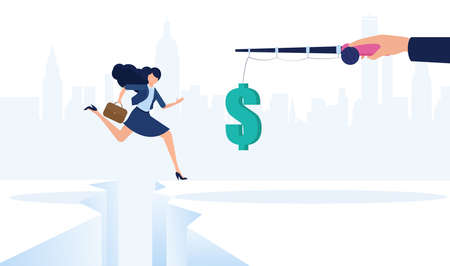 Vector of a businesswoman jumping over cliff gap towards a dangling dollar symbol