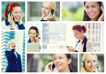 Call center service and happy clients concept. Collage of customer support or sales agents and successful business women