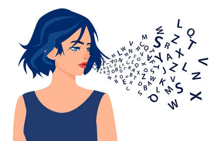 Vector of a young woman talking with alphabet letters coming out of her mouth. Ilustracja