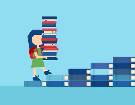Vector of a little girl carrying a pile of textbooks while walking on the stairs made of books. Illustration