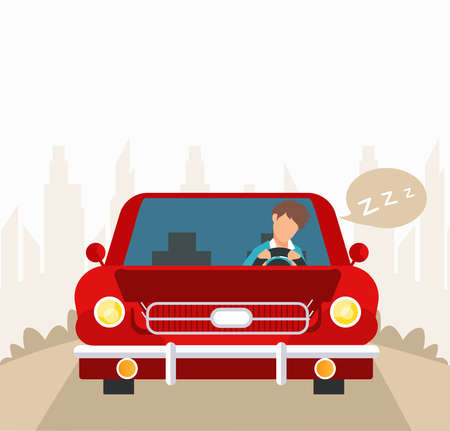 Vector of a tired young driver falling asleep while driving his car