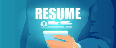 Vector of a businessman recruiter reviewing online job application, candidate resume