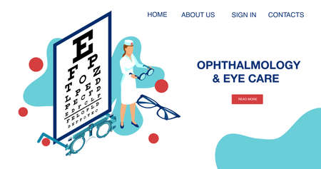 Eyesight diagnostics concept. Vector landing page of an ophthalmology exam and eye care