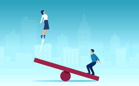 Vector of a man jumping on a seesaw helping a business woman to fly up on the other side