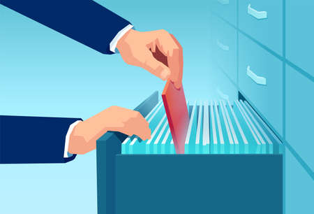 Vector of an office clerk a businessman pulling out red folder from a file cabinet drawer