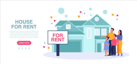 Vector of a young family looking for a new house to rent or buy