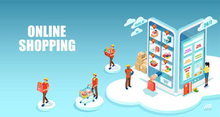 Vector of a woman shopping and paying online using smartphone apps