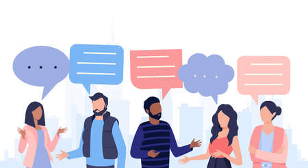 Vector of a group of young people talking with speech bubbles above heads Illustration