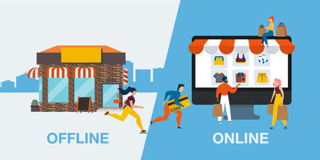 Vector of people customers switching from offline to online shopping Vecteurs