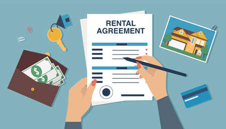 Vector of a woman signing document, a new home rental agreement Illustration