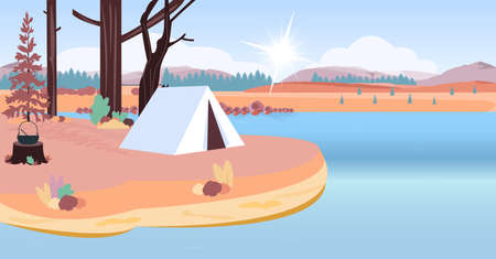 Vector of a camping tent on a lake beach on a mountain background