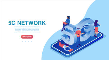 Vector of a smartphone with 5G symbol and people using mobile gadgets with high speed internet. Illustration