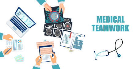 Vector of a group of doctors working at desk as a team on patient diagnosis and treatment