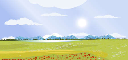 Landscape of green meadows and mountains on the background