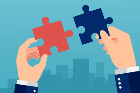 Vector of a businessman connecting jigsaw puzzle pieces on a city background