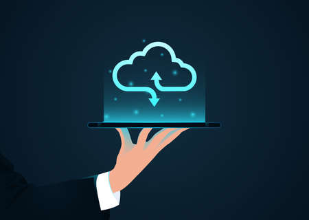 Vector of a businessman holding a tablet computer with cloud icon above