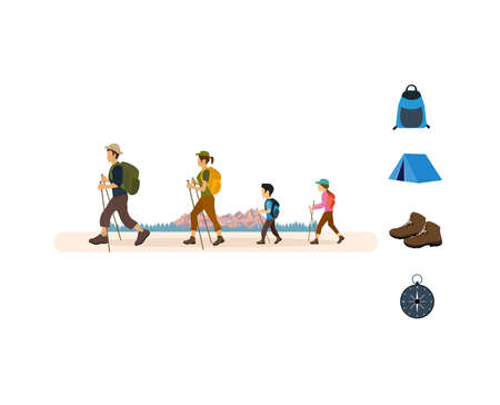 Vector of a young family tourists with backpacks hiking on a nature landscape background