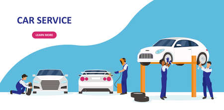 Vector of a car service and repair garage with professional team working to fix auto problems